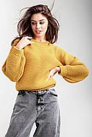 Женский джемпер свитер объемный укороченный большого размера, фото 1