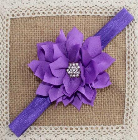 Детская повязка-цветок фиолетовая - окружность 40-52см, цветок 9см