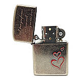 Запальничка бензинова «Вічна любов» вінтажне срібло, фото 4