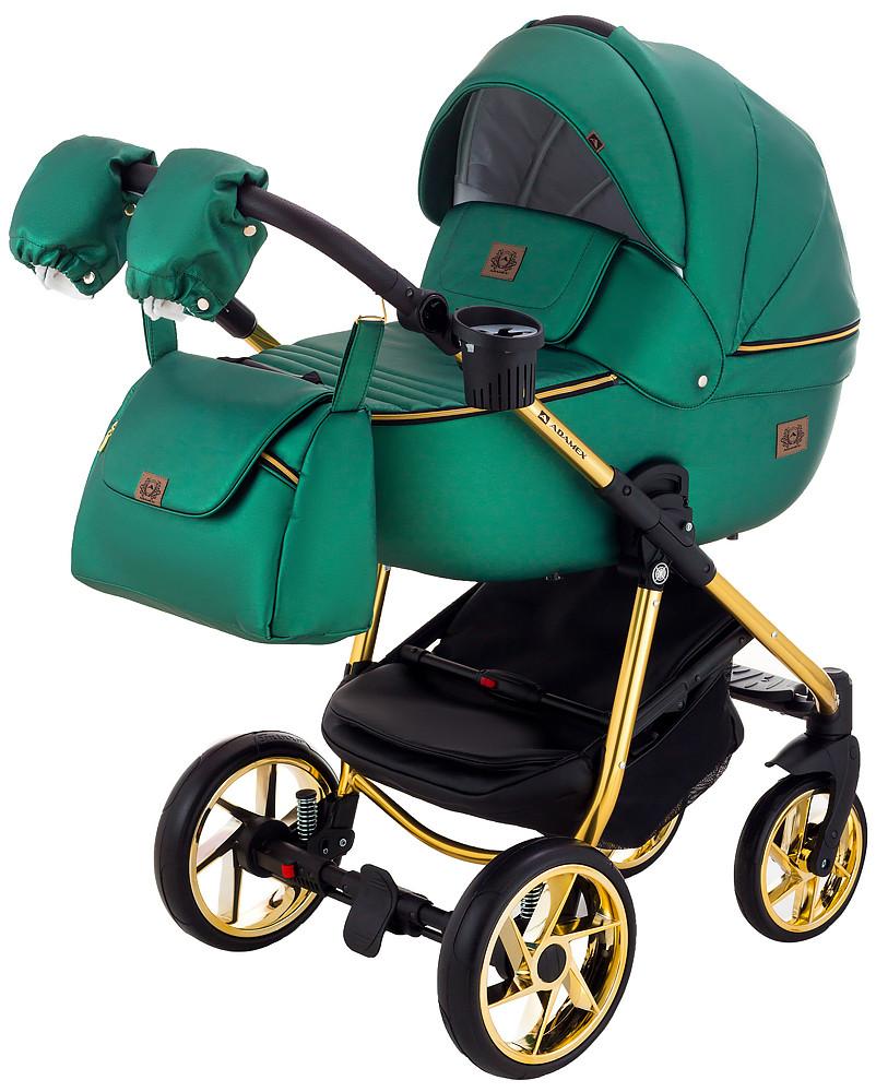 Дитяча коляска 2в1 Adamex Hybryd Plus Polar (Gold) Y216А Зелений перламутр