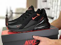 Мужские кроссовки Nike Air Max 270,сетка,черные с оранжевым