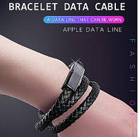 Кожаный браслет Micro USB черный 40 см, фото 1