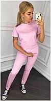 Спортивный костюм футболка штаны Розовый Большой размер