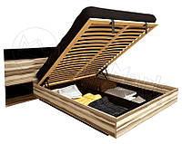 Кровать с подъемным механизмом и прикроватными тумбами Sonata / Соната MiroMark 160х200 орех балтимор / черный
