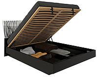 Кровать с подъемным механизмом Терра / Terra MiroMark 160х200 черный / белый глянец