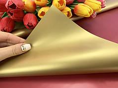 Калька для упаковки цветов двусторонняя непрозрачная Красно-Золотая 60*60 см, 20 листов
