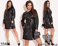 Оригинальное платье на пуговицах из эко кожи арт 505