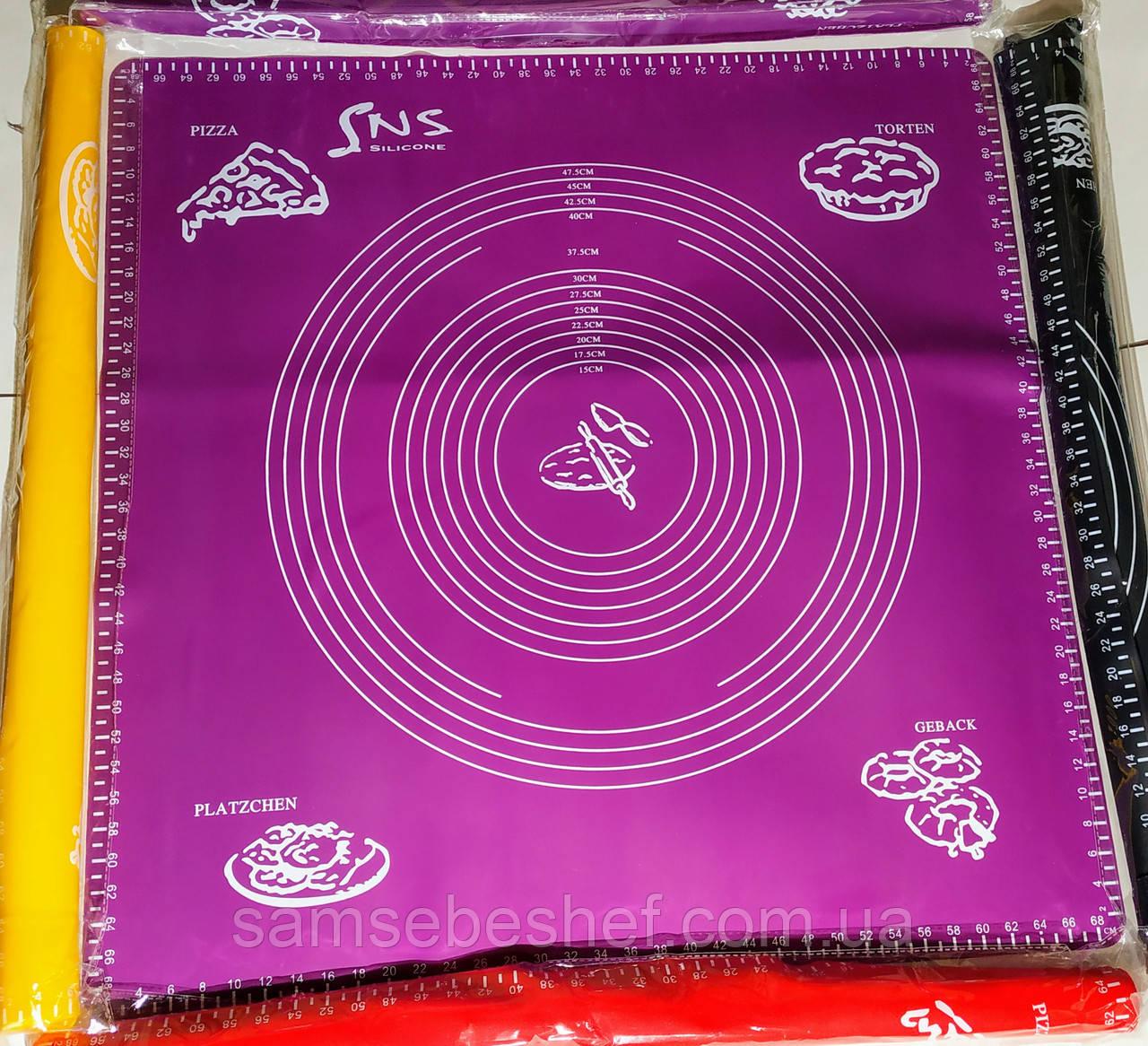 Большой силиконовый коврик для раскатки теста с разметкой 66*66 см