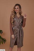 Платье на запах из эко кожи арт 513