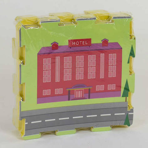 Коврик-пазл EVA С 36630 Город (20) 9 шт в упаковке, 30х30 см, фото 2