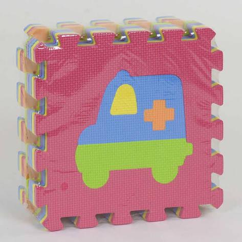 Коврик-пазл EVA Транспорт С 36607 (24) массажный, 9 эл. в упаковке, 30х30см, фото 2
