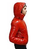 Підліткова червона куртка лакова, розміри 38-48, вик.червоний, фото 8