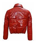 Підліткова червона куртка лакова, розміри 38-48, вик.червоний, фото 5