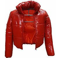 Подростковая алая куртка лаковая, размеры 38-48, вик.алый