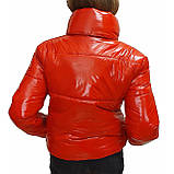 Підліткова червона куртка лакова, розміри 38-48, вик.червоний, фото 9