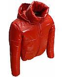 Підліткова червона куртка лакова, розміри 38-48, вик.червоний, фото 3