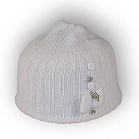 Детская шерстяная шапка для девочки 40-45см 321 белая