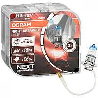 Лампа галогенная Osram 64151NL H3 Night Breaker Laser NG +150% 55W 12V Pk22s HardDuopet, фото 1