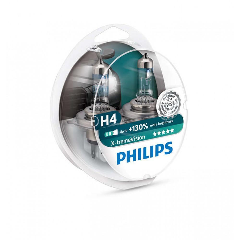 Лампа галогенная PHILIPS 12342XV+S2 H4 60/55W 12V P43T X-treme Vision +130%