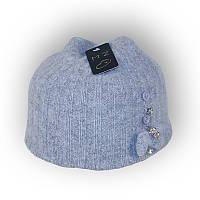 Детская шерстяная шапка для девочки 40-45см 321 серая