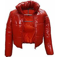Алая куртка лаковая, размеры 38-48, вик.алый
