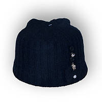 Детская шерстяная шапка для девочки 40-45см 321 черная