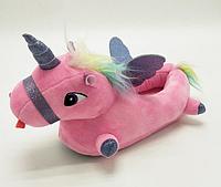 Женские тапочки-игрушки Единороги розовые, 35-38, тапочки игрушки, тапочки кигуруми, тапочки для дома, тапочки іграшки, тапочки кигуруми, тапочки для