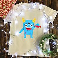 Мужская футболка с принтом - Монстрик Синий