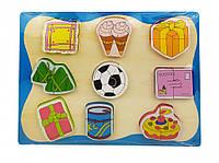 Деревянная развивающая игрушка для детей сортер игрушка Рамка-вкладыш MD 1213 (Подарки)