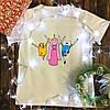 Мужская футболка с принтом - Финн, Джейк и принцесса Бубльгум