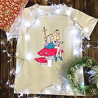Мужская футболка с принтом - Алиса с кальяном