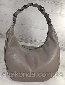 613-2 Натуральная кожа Объемная сумка женская бежевая Сумка-хобо Кожаная сумка-мешок кофейная на плечо