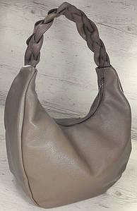 613-2 Натуральная кожа Объемная сумка женская бежевая Кожаная сумка-мешок Кофейная кожаная сумка на плечо хобо
