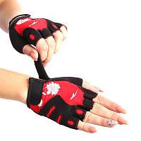 Жіночі рукавички для фітнесу MARATON чорно-червоний AI-04-1519, фото 1