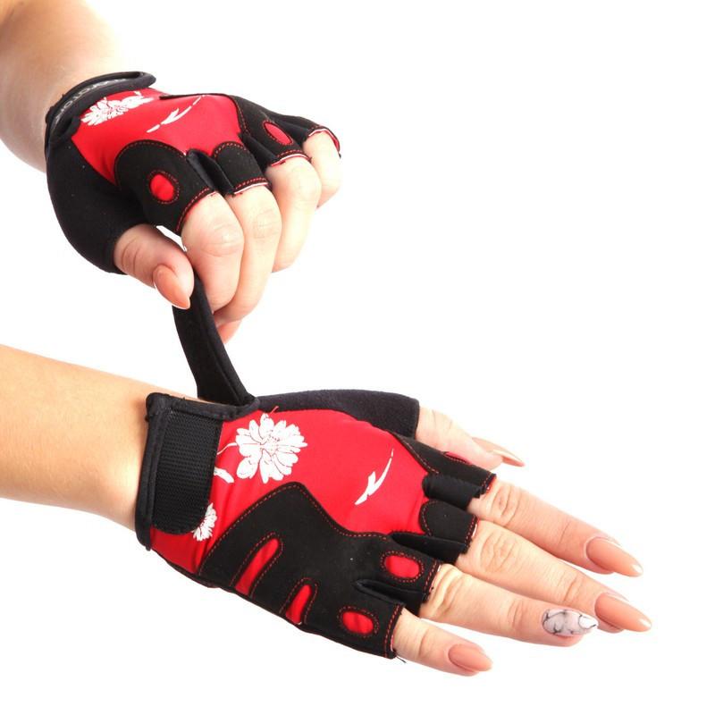 Жіночі рукавички для фітнесу MARATON чорно-червоний AI-04-1519