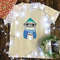 Мужская футболка с принтом - Зимний мопс