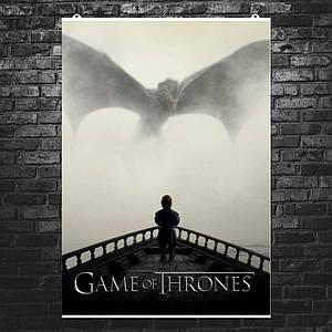 "Постер ""Игра Престолов. Дракон и Тирион Ланнистер"". Game of Thrones"", сериал. Размер 60x43см (A2). Глянцевая бумага"