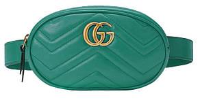 Сумка женская на пояс и плечо - бананка и кросс боди 2в1 Gucci (в стиле Гуччи) Темно-зеленый