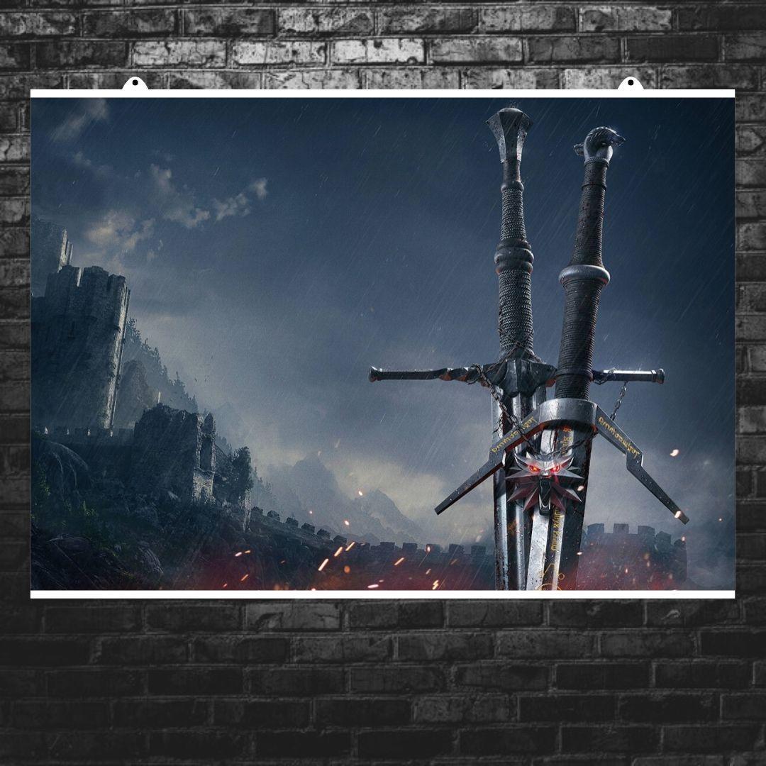 "Постер ""Меч ведьмака на фоне замка"". Ведьмак, Witcher. Размер 60x43см (A2). Глянцевая бумага"
