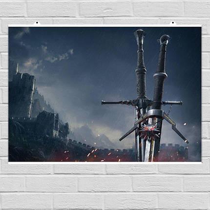"Постер ""Меч ведьмака на фоне замка"". Ведьмак, Witcher. Размер 60x43см (A2). Глянцевая бумага, фото 2"