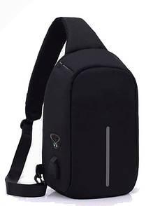 Рюкзак Bobby через плечо с USB зарядным и портом для наушников черный (реплика) (3069)