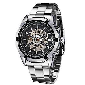 Водонепроницаемые мужские классические часы Winner TM340 с автоподзаводом (тех пакет) Серебряный