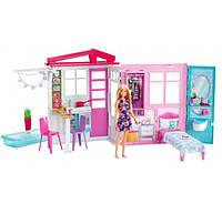 Портативный домик с куклой Barbie Барби с надувным бассейном  House Furniture FXG55