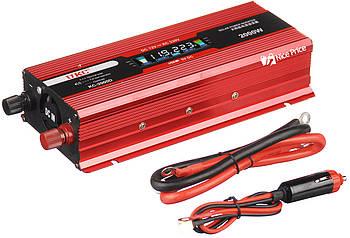 Преобразователь тока UKC 12 - 220 вольт 2кВт USB. Автомобильный инвертор 12V - 220V 2000W LCD KC-2000D USB Red