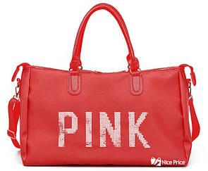 Большая женская сумка Pink в стиле Victoria`s Secret с пайетками Красный