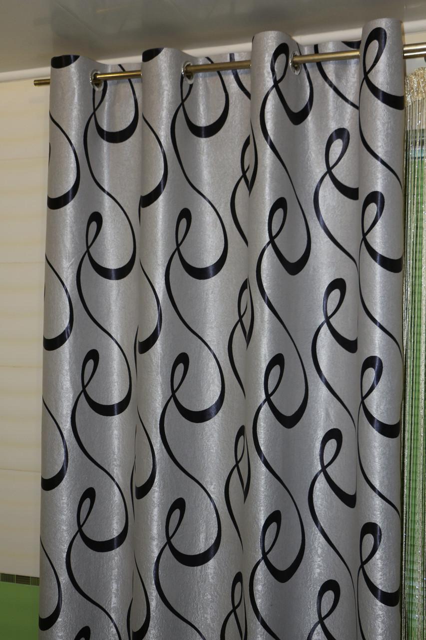 Комплект штор на люверсах, коллекция блэкаут, цвет серый