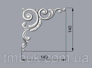 Угловой декор 18 завитки из дерева - 140х140 мм, фото 2