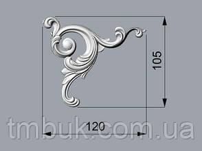 Угловой декор 17 завитки из дерева - 120х105 мм, фото 2