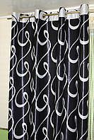 Черные шторы блэкаут на люверсах. Готовый комплект, фото 1