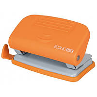 Дірокол до 10 л., Economix, пласт. корпус, з лінійкою, помаранчевий E40133-06